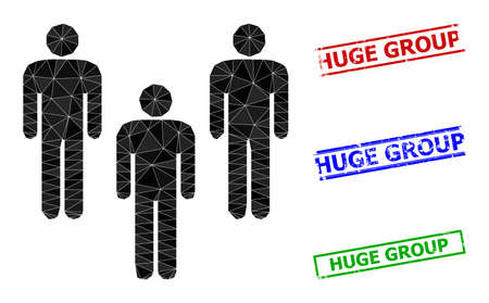 Triangle people crowd polygonal icon illustration, and unclean simple Huge Group stamp imitations. People Crowd icon is filled with triangles. Simple stamp seals uses lines, rects in red, blue,