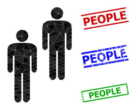 Triangle people polygonal icon illustration, and unclean simple People seals. People icon is filled with triangles. Simple seals uses lines, rects in red, blue, green colors.