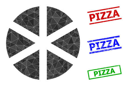 Triangle pizza polygonal icon illustration, and scratched simple Pizza stamp seals. Pizza icon is filled with triangles. Simple stamp seals uses lines, rects in red, blue, green colors.