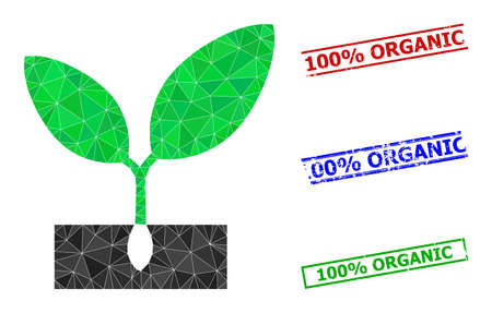 Triangle plant sprout polygonal icon illustration, and rubber simple 100% Organic rubber seals. Plant Sprout icon is filled with triangles. Simple stamp seals uses lines, rects in red, blue, 일러스트