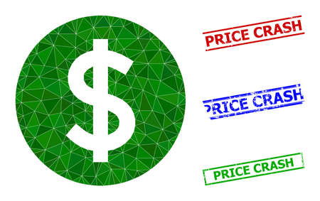 Triangle price polygonal icon illustration, and distress simple Price Crash seals. Price icon is filled with triangles. Simple stamp seals uses lines, rects in red, blue, green colors. 일러스트