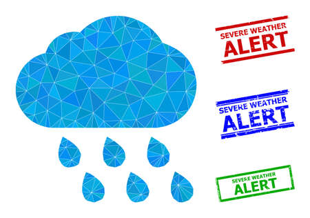Triangle rain cloud polygonal icon illustration, and rubber simple Severe Weather Alert seals. Rain Cloud icon is filled with triangles. Simple stamp seals uses lines, rects in red, blue,