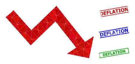 Triangle recession arrow polygonal icon illustration, and grunge simple Deflation stamp prints. Recession Arrow icon is filled with triangles. Simple stamp seals uses lines, rects in red, blue,