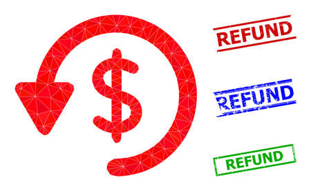 Triangle refund polygonal icon illustration, and rough simple Refund watermarks. Refund icon is filled with triangles. Simple watermarks uses lines, rects in red, blue, green colors.