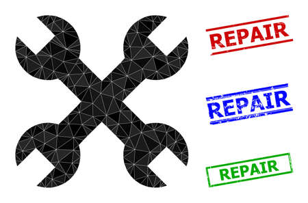 Triangle repair spanners polygonal icon illustration, and distress simple Repair seals. Repair Spanners icon is filled with triangles. Simple stamp seals uses lines, rects in red, blue, green colors.
