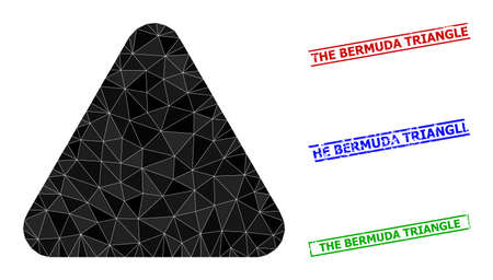 Triangle rounded triangle polygonal icon illustration, and unclean simple The Bermuda Triangle stamp seals. Rounded Triangle icon is filled with triangles. Simple stamp seals uses lines, rects in red,