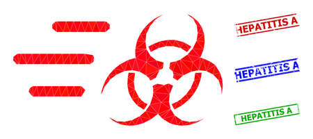 Triangle rush biohazard polygonal icon illustration, and unclean simple Hepatitis A seals. Rush Biohazard icon is filled with triangles. Simple stamp seals uses lines, rects in red, blue,