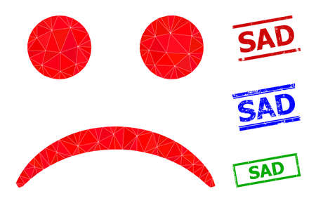 Triangle sad smiley polygonal 2d illustration, and unclean simple Sad stamp seals. Sad Smiley icon is filled with triangles. Simple stamp seals uses lines, rects in red, blue, green colors.