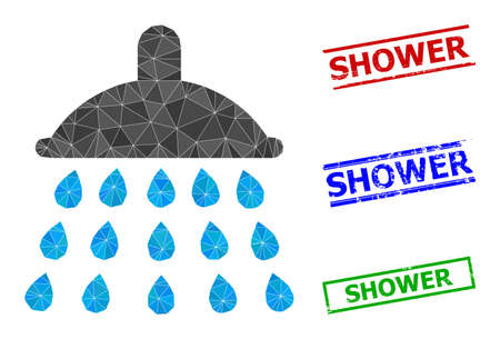 Triangle shower polygonal icon illustration, and grunge simple Shower stamps. Shower icon is filled with triangles. Simple stamps uses lines, rects in red, blue, green colors.