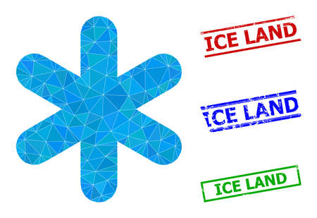 Triangle simple snowflake polygonal icon illustration, and unclean simple Ice Land stamp seals. Simple Snowflake icon is filled with triangles. Simple stamp seals uses lines, rects in red, blue,