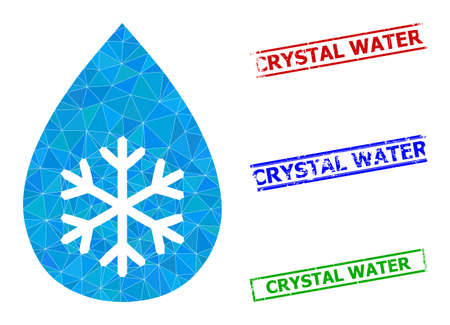 Triangle snow fresh drop polygonal icon illustration, and grunge simple Crystal Water seals. Snow Fresh Drop icon is filled with triangles. Simple stamp seals uses lines, rects in red, blue,