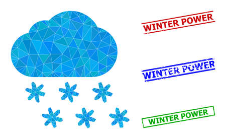 Triangle snow weather polygonal icon illustration, and scratched simple Winter Power seals. Snow Weather icon is filled with triangles. Simple seals uses lines, rects in red, blue, green colors. 일러스트