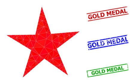 Triangle star polygonal icon illustration, and grunge simple Gold Medal rubber seals. Star icon is filled with triangles. Simple seals uses lines, rects in red, blue, green colors.