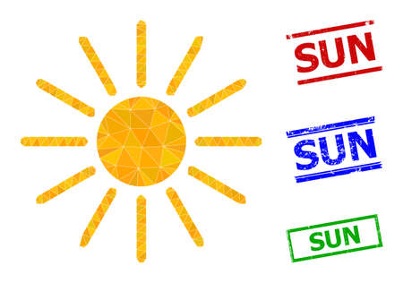 Triangle sun polygonal icon illustration, and rubber simple Sun stamps. Sun icon is filled with triangles. Simple stamps uses lines, rects in red, blue, green colors. 일러스트