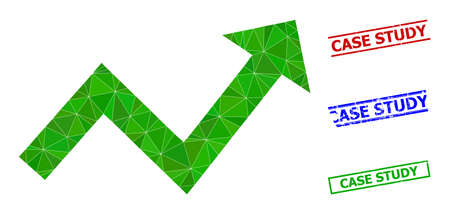 Triangle trend up arrow polygonal icon illustration, and scratched simple Case Study watermarks. Trend up Arrow icon is filled with triangles. Simple stamps uses lines, rects in red, blue,