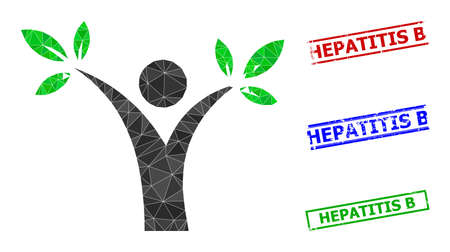 Triangle tree man polygonal icon illustration, and unclean simple Hepatitis B stamps. Tree Man icon is filled with triangles. Simple stamps uses lines, rects in red, blue, green colors.