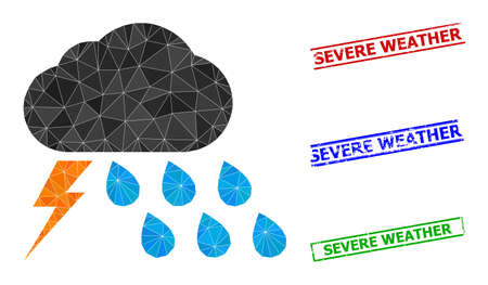Triangle thunderstorm weather polygonal icon illustration, and textured simple Severe Weather stamp seals. Thunderstorm Weather icon is filled with triangles. Simple stamp seals uses lines,