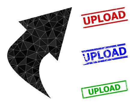 Triangle upload arrow polygonal icon illustration, and rubber simple Upload rubber seals. Upload Arrow icon is filled with triangles. Simple stamps uses lines, rects in red, blue, green colors.