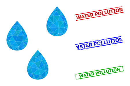 Triangle water drops polygonal icon illustration, and unclean simple Water Pollution seals. Water Drops icon is filled with triangles. Simple stamp seals uses lines, rects in red, blue, green colors.