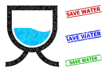 Triangle water tank polygonal 2d illustration, and rough simple Save Water seals. Water Tank icon is filled with triangles. Simple seals uses lines, rects in red, blue, green colors.