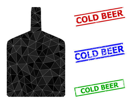 Triangle wide bottle polygonal 2d illustration, and rubber simple Cold Beer rubber seals. Wide Bottle icon is filled with triangles. Simple stamp seals uses lines, rects in red, blue, green colors.