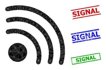 Triangle wifi signal polygonal 2d illustration, and unclean simple Signal stamp seals.