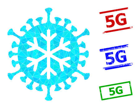 Triangle winter virus polygonal symbol illustration, and unclean simple 5G stamp seals. Winter Virus icon is filled with triangles. Simple stamp seals uses lines, rects in red, blue, green colors.