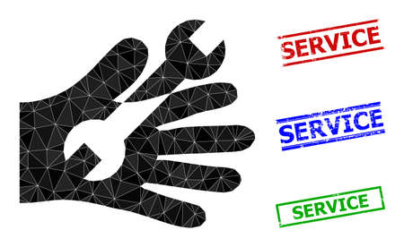 Triangle wrench service hand polygonal icon illustration, and textured simple Service stamp prints. Wrench Service Hand icon is filled with triangles. Simple stamp seals uses lines, rects in red,