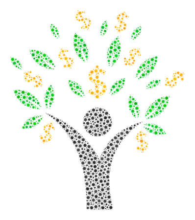 Vector money tree man coronavirus mosaic icon constructed for clinic illustrations. Money tree man mosaic is shaped of tiny coronavirus pathogen elements.