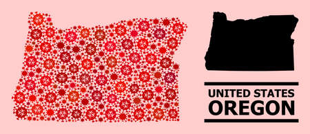 Vector covid-2019 mosaic map of Oregon State organized for doctor posters. Red mosaic map of Oregon State is shaped from biohazard covid-2019 pathogen cells.