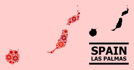 Vector covid-2019 mosaic map of Las Palmas Province organized for medicare illustrations. Red mosaic map of Las Palmas Province is constructed with biohazard covid viral items.