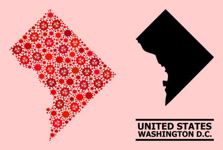 Vector covid-2019 collage map of Washington DC created for pandemic wallpapers. Red mosaic map of Washington DC is organized from biohazard covid-2019 infection icons.