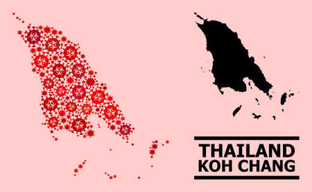 Vector covid collage map of Koh Chang designed for pandemic applications. Red mosaic map of Koh Chang is designed with biological hazard covid-2019 viral elements.