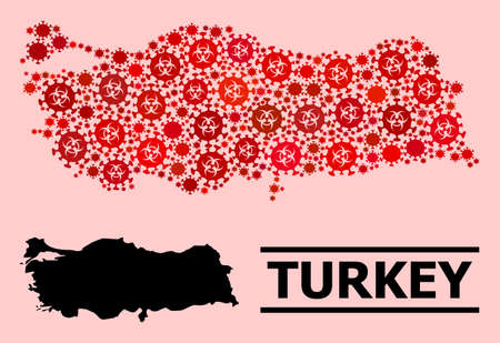Vector mosaic map of Turkey combined for clinic illustrations. Red mosaic map of Turkey is made of biological hazard viral elements.
