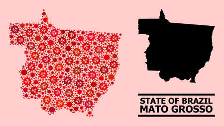 Vector collage map of Mato Grosso State combined for health care posters. Red mosaic map of Mato Grosso State is made with biohazard pathogen cells.