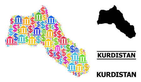Bright colored bank and commercial mosaic and solid map of Kurdistan. Map of Kurdistan vector mosaic for promotion campaigns and proclamations.