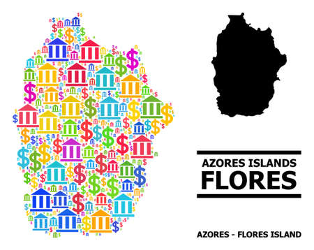 Bright colored financial and dollar mosaic and solid map of Azores - Flores Island. Map of Azores - Flores Island vector mosaic for geographic campaigns and posters.