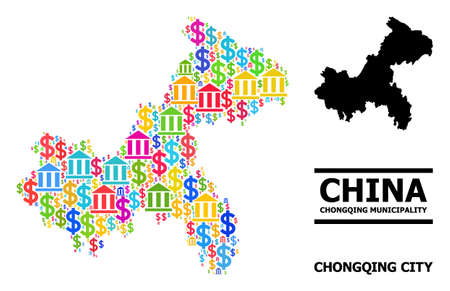 Colored finance and business mosaic and solid map of Chongqing Municipality. Map of Chongqing Municipality vector mosaic for business campaigns and agitprop.