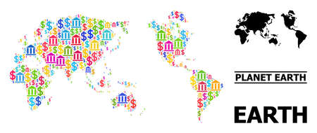 Bright colored bank and economics mosaic and solid map of Earth. Map of Earth vector mosaic for geographic campaigns and propaganda. Map of Earth is designed from colored bank and dollar symbols. Vektoros illusztráció