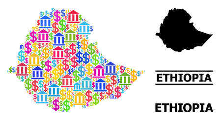 Colored banking and dollar mosaic and solid map of Ethiopia. Map of Ethiopia vector mosaic for promotion campaigns and promotion. Map of Ethiopia is created from bright colored dollar and bank ojects. Vektoros illusztráció
