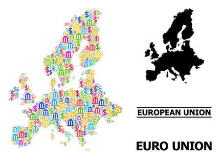 Bright colored bank and dollar mosaic and solid map of Euro Union. Map of Euro Union vector mosaic for promotion campaigns and proclamations.