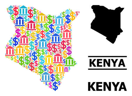Bright colored bank and business mosaic and solid map of Kenya. Map of Kenya vector mosaic for business campaigns and agitprop. Map of Kenya is composed from colored dollar and bank particles.