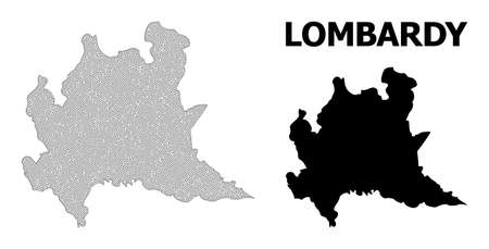 Polygonal mesh map of Lombardy region in high detail resolution. Mesh lines, triangles and points form map of Lombardy region. Vector Illustration