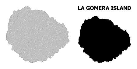 Polygonal mesh map of La Gomera Island in high detail resolution. Mesh lines, triangles and points form map of La Gomera Island.