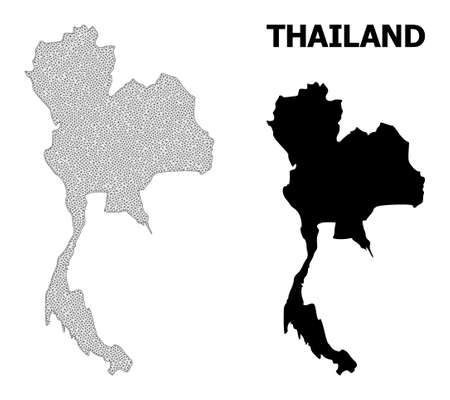 Polygonal mesh map of Thailand in high detail resolution. Mesh lines, triangles and points form map of Thailand.