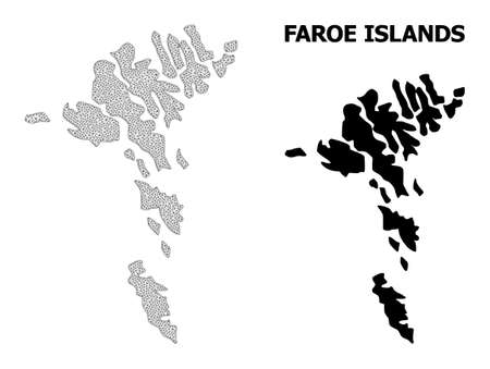 Polygonal mesh map of Faroe Islands in high resolution. Mesh lines, triangles and points form map of Faroe Islands.