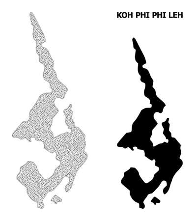 Polygonal mesh map of Koh Phi Leh in high detail resolution. Mesh lines, triangles and dots form map of Koh Phi Leh.