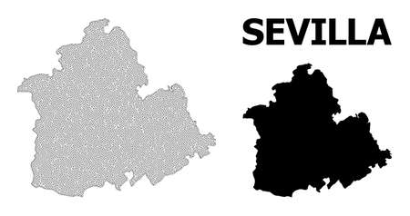 Polygonal mesh map of Sevilla Province in high detail resolution. Mesh lines, triangles and dots form map of Sevilla Province.