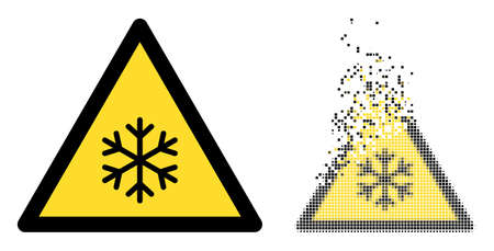 Fractured dot snow warning vector icon with destruction effect, and original vector image. Pixel dust effect for snow warning shows speed and motion of cyberspace abstractions.
