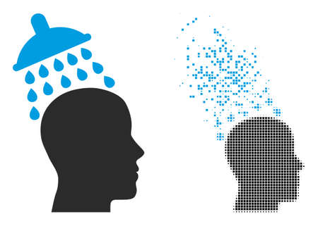 Dispersed dotted head shower vector icon with destruction effect, and original vector image. Pixel erosion effect for head shower shows speed and motion of cyberspace items.
